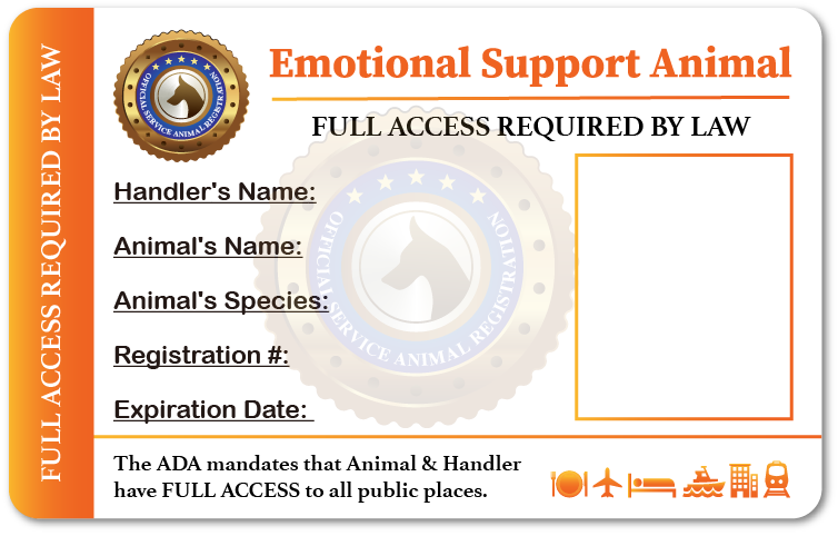 Emotional Support Animal Identification Card