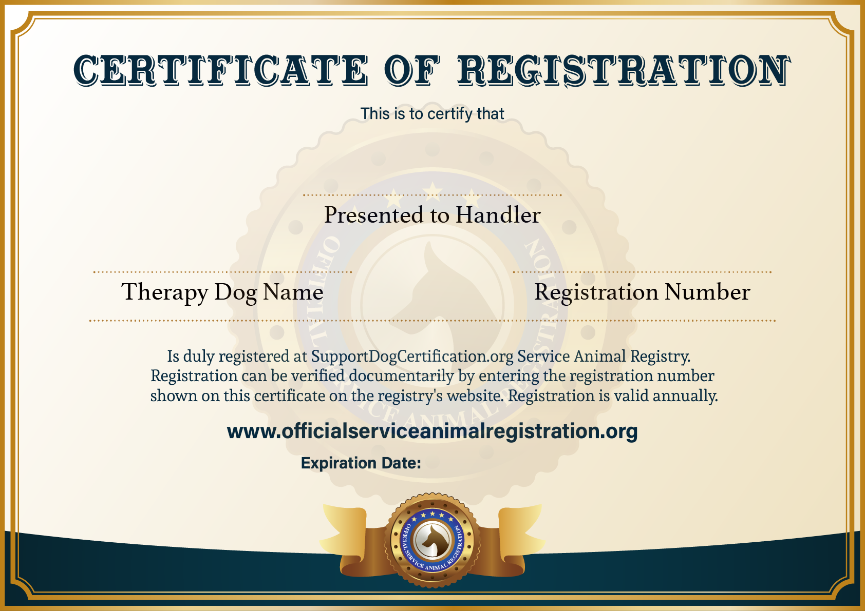 Therapy Dog Certificate